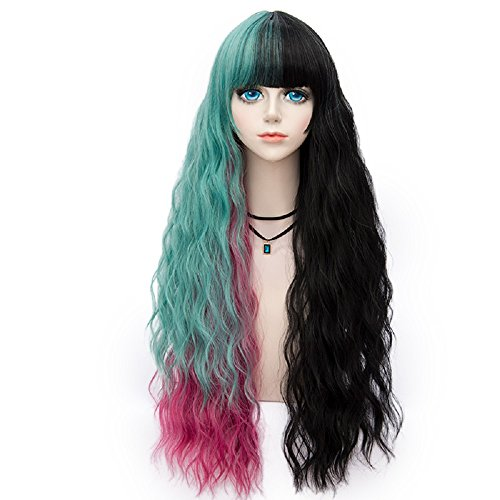 Probeauty Punkview Collection 75cm Mix Color Gothic Long Curly Pastel Ombre Hair Synthetic Cosplay Wig+Cap (Rose Red,Mint Mix Black)