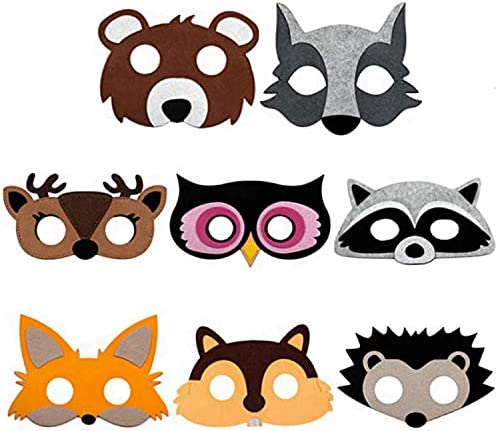 Animals Felt Masks for Kids, 8 Pcs Animals Cosplay Costume Masks, Role Playing Game Props Photo Booth Prop Kids Costumes Dress-up Party Supplies Pretend Play Accessories Gift for Kids Boys Girls