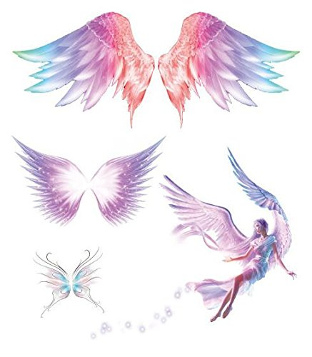 Set of 2 Waterproof Temporary Fake Tattoo Stickers Pink Angel Wings - Temporary Tattoo Angel