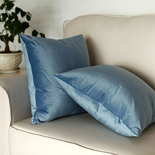 "Artcest Set of 2, Cozy Solid Velvet Throw Pillow Case, Decorative Couch Cushion Cover, Soft Sofa Euro Sham with Zipper Hidden, 20"" x 20"" (Light Blue)"