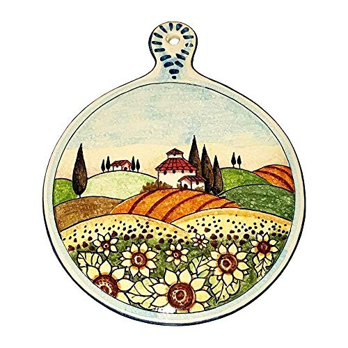 (CERAMICHE PARRINI - Italian Ceramic Art Utensil Kitchenware Tile Trivet Pottery Decorated Landscape Tuscan Sunflower Hand Painted Made in ITALY)