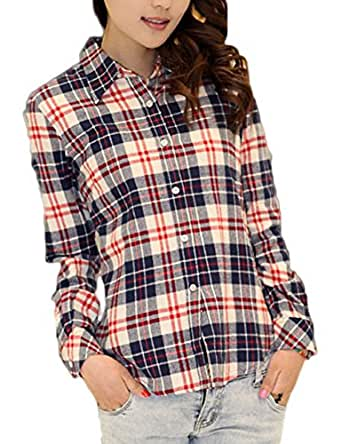 Gameyly women 39 s soft flannel plaid button down shirt at for Ladies soft flannel shirts