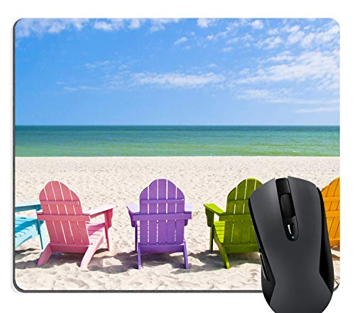 Vacation Mouse - Knseva Adirondack Beach Chairs on a Sunny Beach Vacation Travel House Mouse Pad - Rainbow