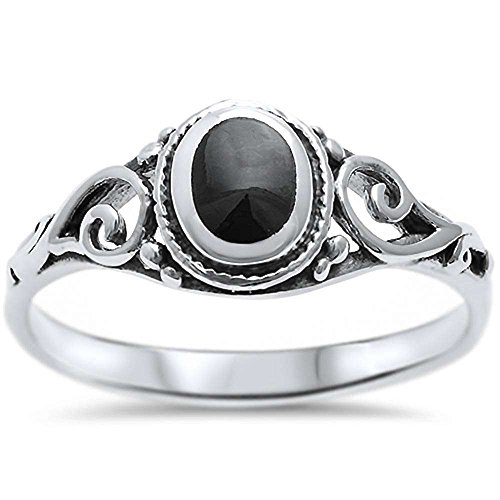 (Oxford Diamond Co Sterling Silver Simulated Black Onyx Filigree Ring Sizes 9)