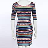 Usstore-Women-O-Neck-Striped-Slim-Bodycon-Boho-Evening-Dresses