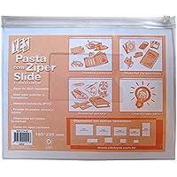 Pasta Zíper Slide com Porta Cartão - A5 - PVC - Transparente CRISTAL