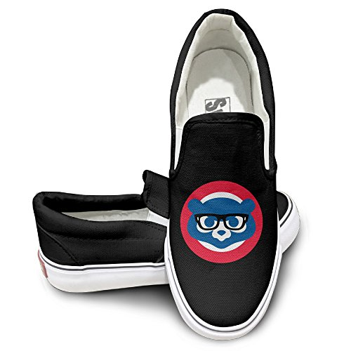 (Nubia Glasses Cubs Bears Casual Unisex Flat Canvas Shoes Sneaker Black)