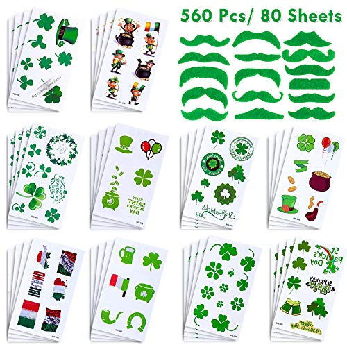 Whaline 560 Pcs/ 80 Sheets St. Patrick's Day Tattoo Stickers Irish Shamrock Clover Temporary Tattoos with 16 Pcs Green Fake Mustache for Party, Parades Supplies