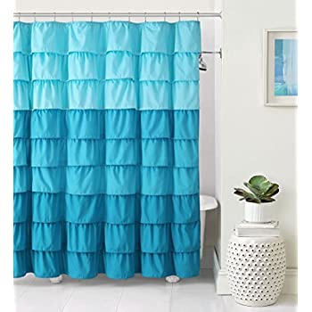VCNY Home Heavy Duty Luxurious Gypsy Ruffled Ombre Fabric Shower Curtain    Assorted Colors (Aqua