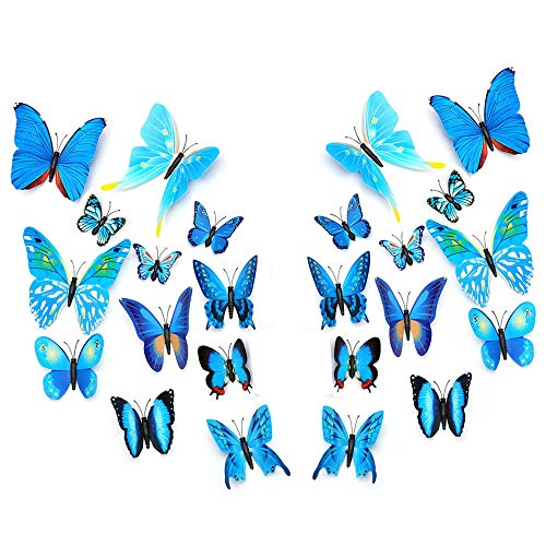 HEUOFST 24 PCS PVC 3D Butterfly Fridge Refrigerator Magnets Wall Stickers for Wall Art Decor Crafts Home Party Decoration Blue ()