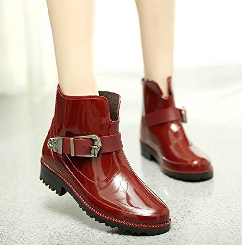 Ankle LvRao Shoes Women's Wellies Waterproof Rain Red Wellington High Half Wine Garden Heel Booties ar0qgZfwPr