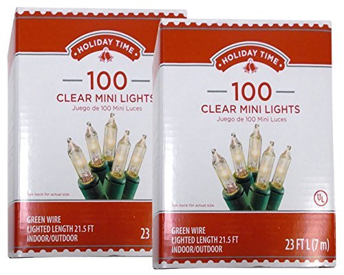 Holiday Time 100 Clear Mini Lights - Green Wire - Indoor/Outdoor (2 Pack) (Holiday Living Lights Led)