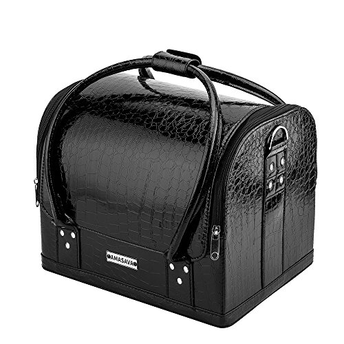 Amasava Black Crocodile Makeup Train Bag Handbag Case Removable Tray Cosmetic Jewelry Portable makeup bag - Black Crocodile Travel Bag