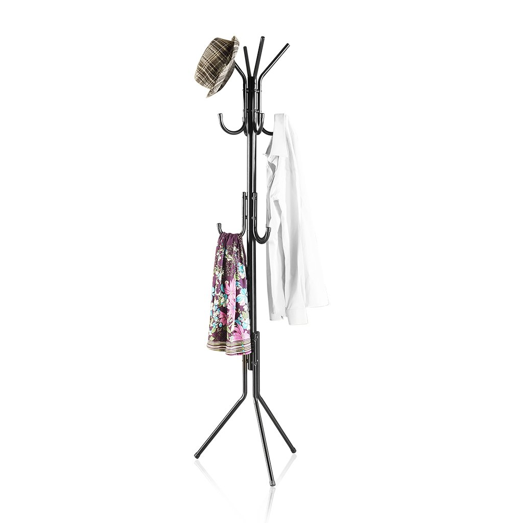 LANGRIA Standing Entryway Coat Rack Coat Tree Hat Hanger Holder 11 Hooks for Jacket Umbrella Tree Stand with Base Metal (Black)