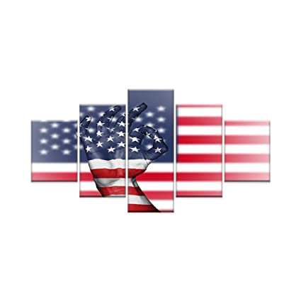 AMEMNY 5 Panels American Flag Canvas Painting Wall Art about Independence Day Prints on Canvas Modern