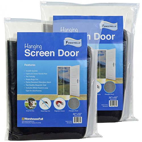 Magnetic Screen Door, 2 Pack, White Trim, Super Tight Self Closing Magnetic Seal, Heavy Duty Flame Resistant Fiberglass Mesh Includes White full Frame Mounting Tape, 36 inch x 82 inch, - Fiber Loop Trim