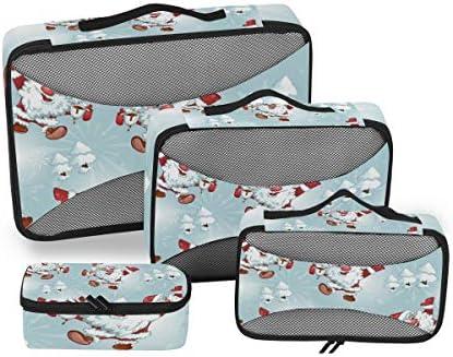 雪のクリスマスサンタクロース荷物パッキングキューブオーガナイザートイレタリーランドリーストレージバッグポーチパックキューブ4さまざまなサイズセットトラベルキッズレディース