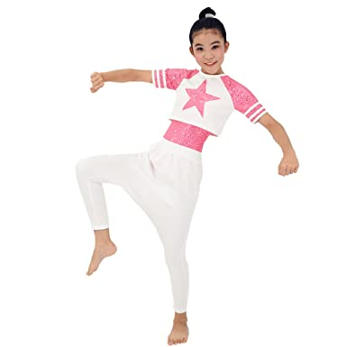 a21e435167d41 Amazon.com  MiDee Girl Sequin Dance Outfits Hip Hop Dance Dress Gym Suit   Clothing
