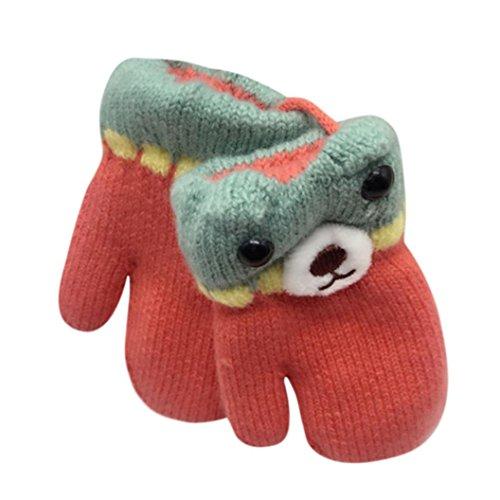 Staron Toddler Baby Winter Gloves Mittens with String Thicken Warm Hot Cute Gloves (Watermelon Red)
