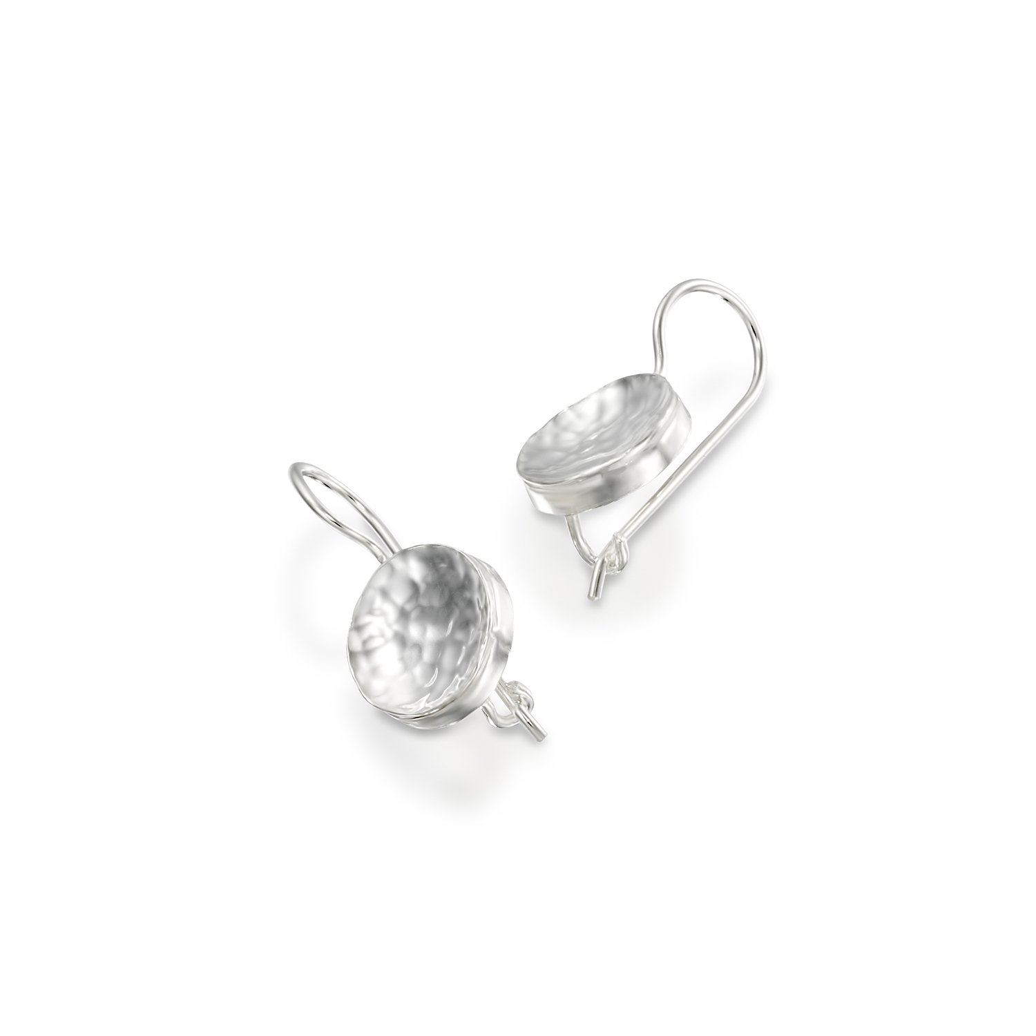 Graceful 925 Sterling Silver Drop Earrings Hammered Round Shaped with Secure Backs