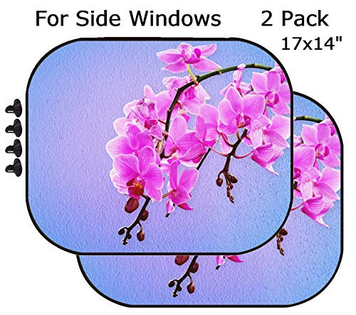 (MSD Car Sun Shade - Side Window Sunshade Universal Fit 2 Pack - Block Sun Glare, UV and Heat for Baby and Pet - Image ID: 32648713 Pink Orchid Flowers on a Pastel Background)