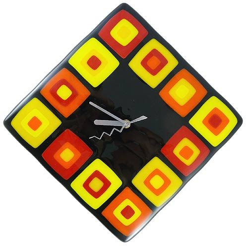 Retro Modern Squares Handcrafted Glass Wall Clock -
