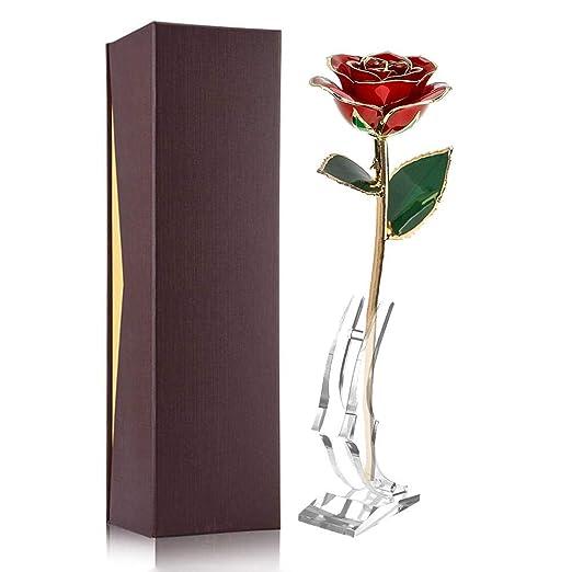 Flor rosa roja de 24K con soporte y caja de embalaje, Flor ...