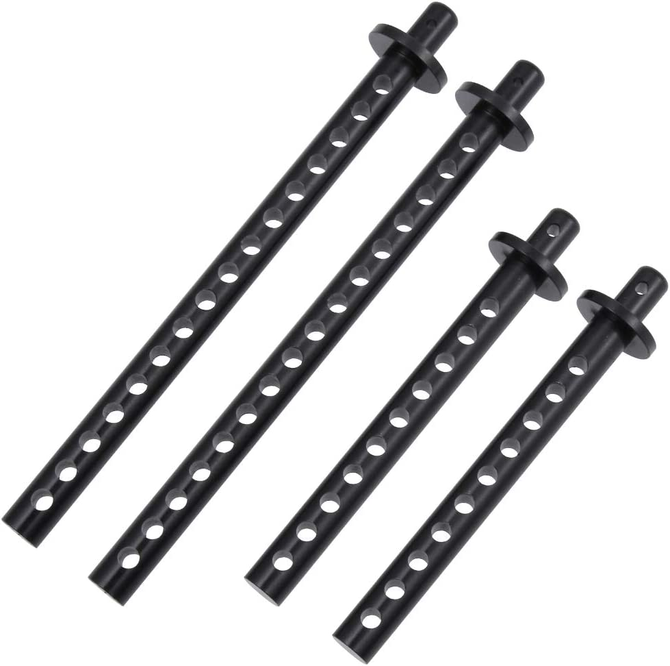 Black Aluminum Extended Front /& Rear Body Post mounts for Redcat Racing Everest Gen7 of 138005 RC Crawler Car Parts