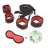 Bed Restraint System,Restraints Kits Medical Grade Strap with Comfortable Wrist and Ankle Cuffs Fits Almost Any Size Mattress,Eyemask,BDMS S&M whips