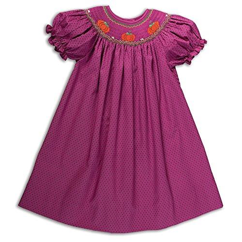 Hand Bishop Smocked - Pumpkins Purple Polka Dot Hand-Smocked Fall Bishop Dress 6Y