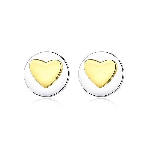 925 Sterling Silver Heart Stud Earrings in Gift Box