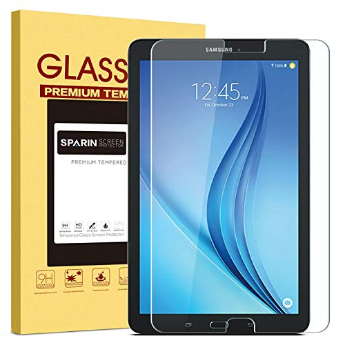 (Galaxy Tab E 9.6 Screen Protector [Tempered Glass], SPARIN Ultra Clear High Definition Tempered Glass Screen Protector for Samsung Galaxy Tab E (9.6 Inch, 2015 Version))
