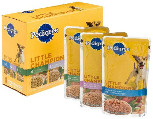 Pedigree Meaty Ground Dinner Variety Pack (Turkey, Chicken, Chicken and Beef) Food for Dogs, 5.3-Ounce Pouches (Pack of 48), My Pet Supplies