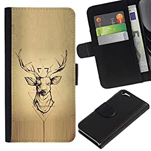 iBinBang / Flip Funda de Cuero Case Cover - Madera astas de los ciervos - Apple Iphone 6 4.7