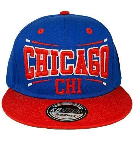 KB Ethos Donna Uomo Chicago Cappello Snapback - Blu Rosso 746ab517ed88