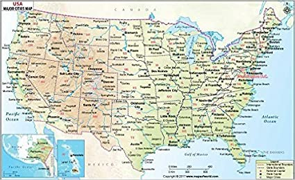 Amazoncom US Physical Map with Major Cities Laminated 36 W x