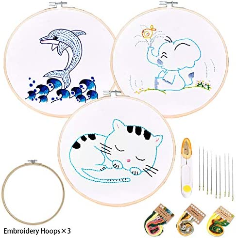 Embroidery Starter Kit of 3 Sets for BeginnerPattern and Instructions Cross Stitch Set Full Range of Stamped Embroidery Kits3 Embroidery Clothes 3 Embroidery Hoops Color Treads Tools Kit