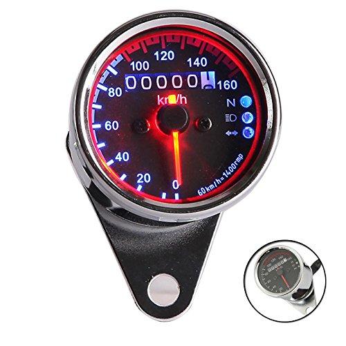 INNOGLOW Motorcycle Universal Backlit Dual Tachometer Speedometer Odometer Speed Gauge LED Backlight Neutral Headlight Turn Signal Indicator KMH