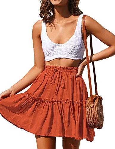 ChainJoy Women's Summer A-line Elastic Waistline Casual Skirt Flounce Skirt Orange S