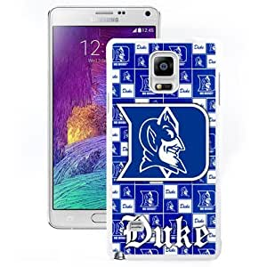 Beautiful Unique Designed Samsung Galaxy Note 4 Case with NCAA Atlantic Coast Conference ACC Footballl Duke Blue Devils 6 Protective Cell Phone Hardshell Cover Case for Samsung Galaxy Note 4 N910 N910S N910C White