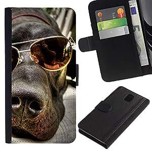 Great Dane Summer Sunglasses Labrador - la tarjeta de Crédito Slots PU Funda de cuero Monedero caso cubierta de piel Samsung Galaxy Note 3 III