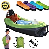 RETBST Inflatable Lounger Sofa with Portable Carry Bag Air Lounger Inflatable Bag Fast Inflate Air Sofa Outdoor Inflatable Lounger Couch for Travelling Camping Park Hiking Pool Beach (Green Sofa)