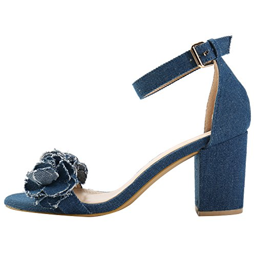 Alexis Leroy Women's Floral Appliques Buckle Ankle Strap Sandals Dark Blue BLmUBEHpA