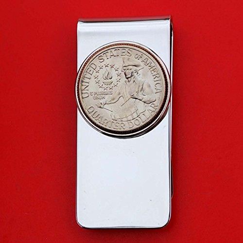 US 1976 Washington Quarter BU Uncirculated Coin Solid Brass Silver Tone Money Clip New - High Quality - Drummer Boy