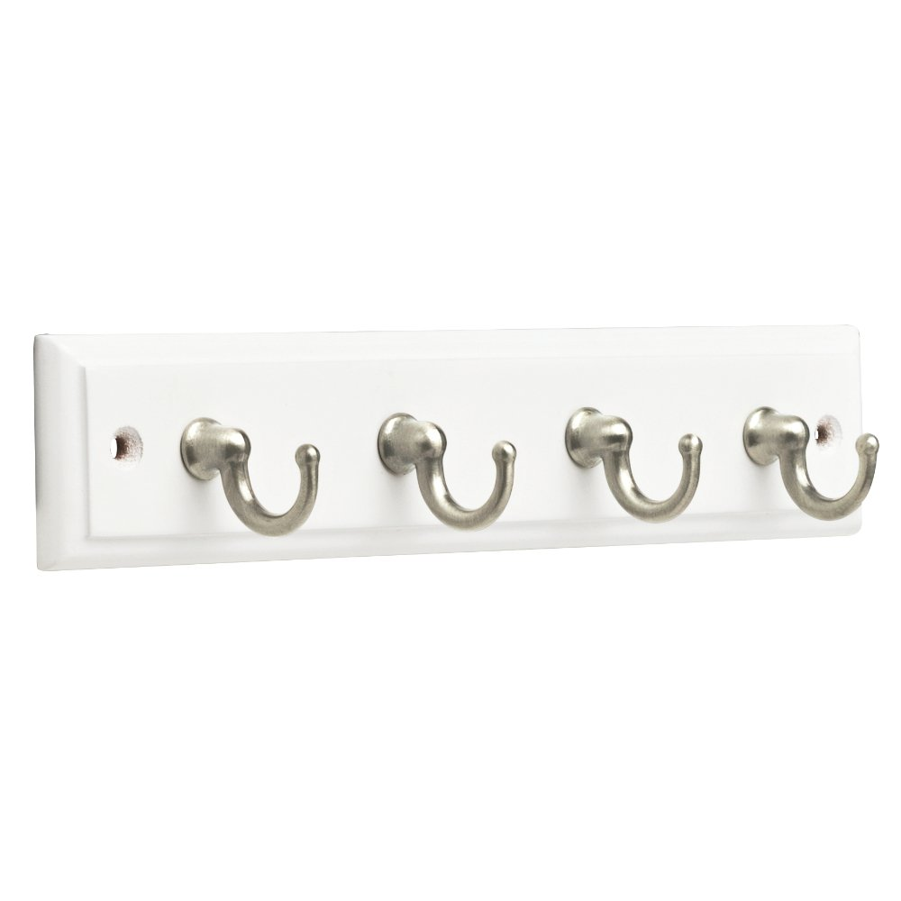 Franklin Brass FBKEYT4-WSE-R, 9'' Key Rail / Rack, with 4 Hooks, in White & Satin Nickel