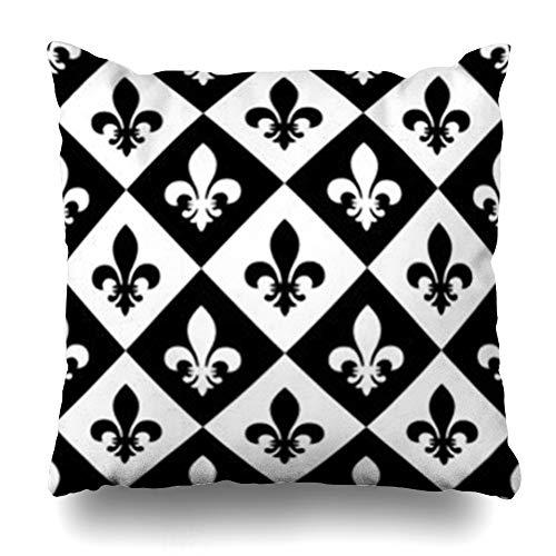ArtsDecor Throw Pillow Covers Organic Orleans Fleur De Lis New Iron Vintage Antique Badge Black Classic Classical Retro Home Decor Cushion Square Size 18