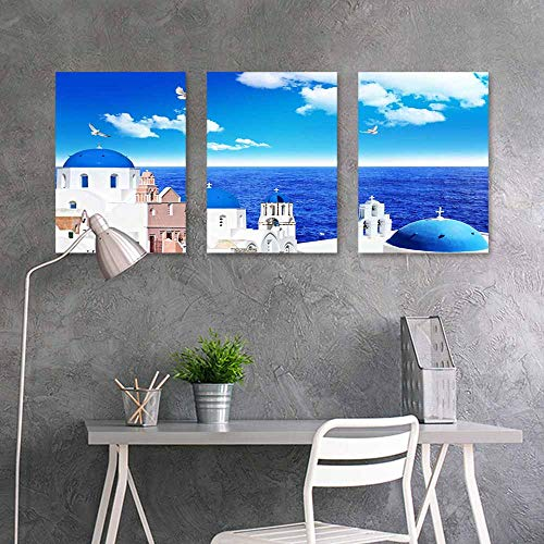 BDDLS Wall Painting Prints Sticker,Aegean Sea (2) for Living Room,Dinning Room, Bedroom 3 Panels,16x24inchx3pcs
