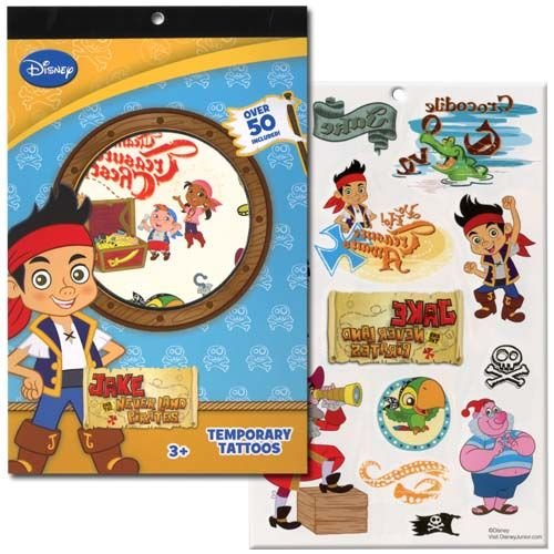 Disneys Temporary Tattoo Book Party Accessory (Jake & The Neverland Pirates) (Jake And The Neverland Pirate Characters)