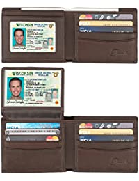 Wallet for men,RFID Blocking Cowhide Leather Bifold Wallet for Men with 2 ID Windows