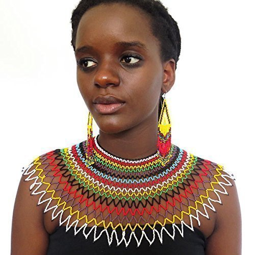 Traditional African Zulu wedding necklace beaded, oversized necklace, statement piece, gift for her – Multicolour with black